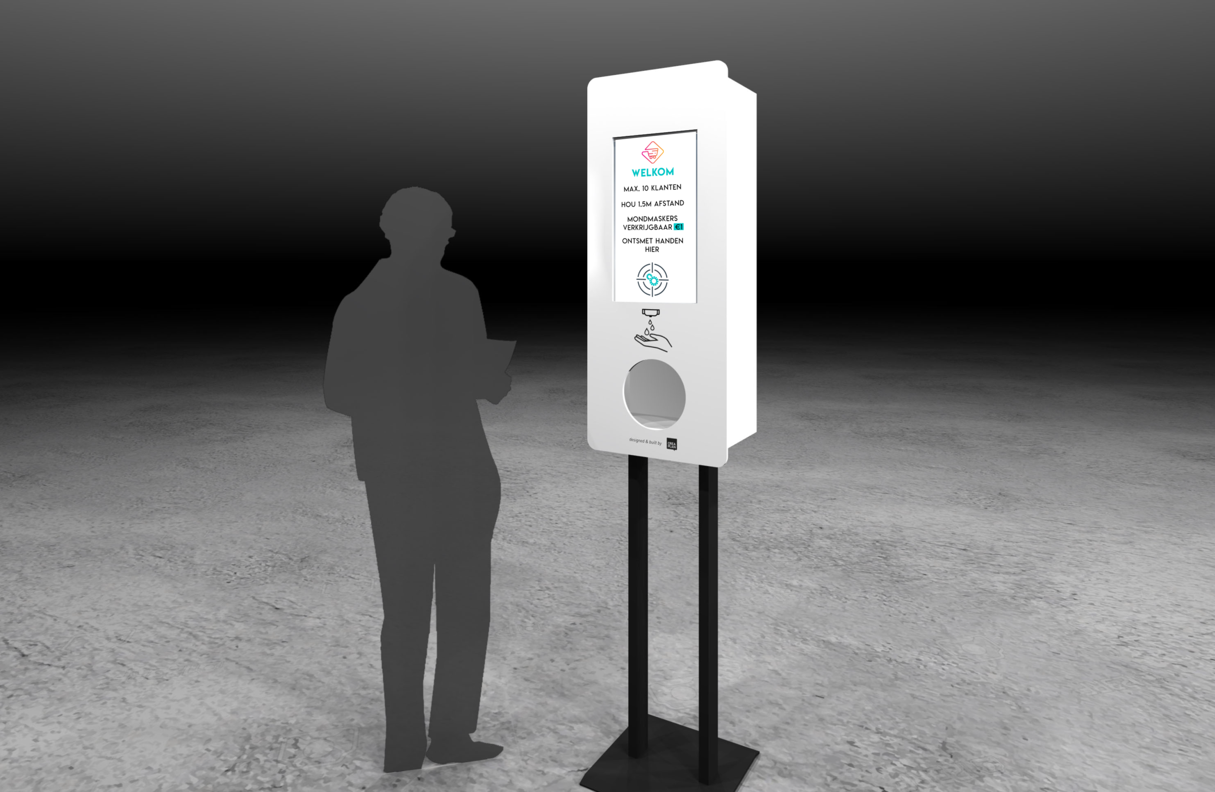 totem met scherm en automatische handgel dispenser